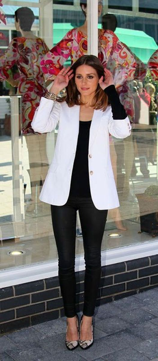 2c2d8d336 Blazer blanco para la oficina | Olivia Palermo best outfits | Moda ...