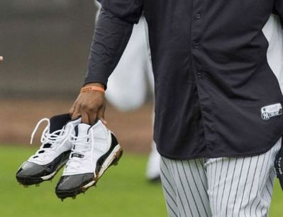 """best sneakers 0d299 25323 NY Yank s CC Sabathia Breaks Out The """"Concord"""" Air Jordan 11 Cleats For  Spring Training"""