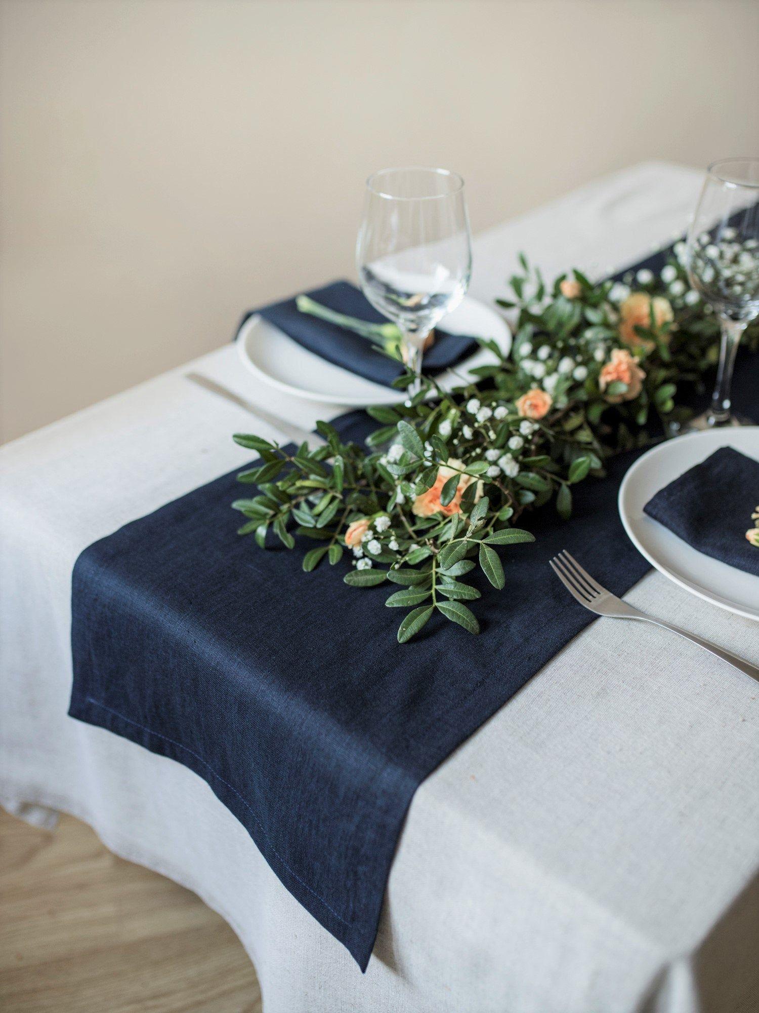 Navy Blue Linen Table Runner
