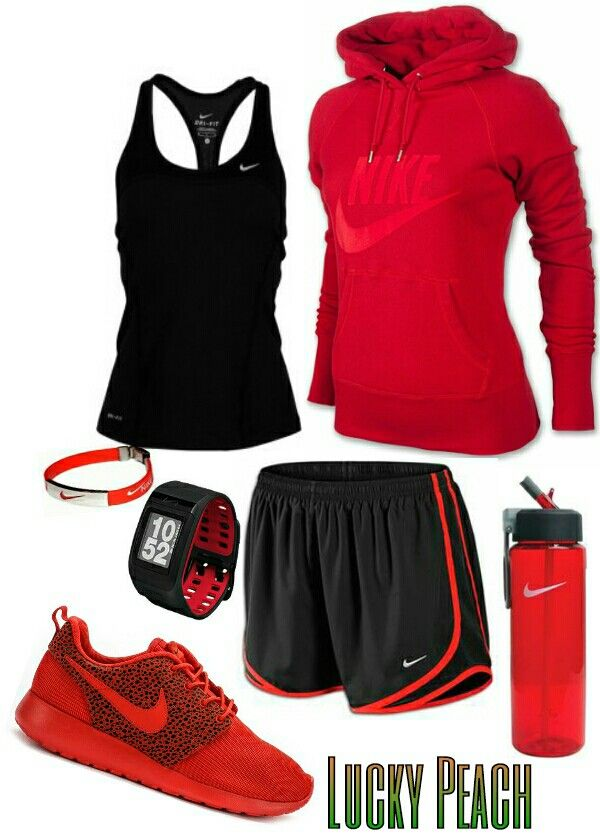Women's fashion red black nike outfit