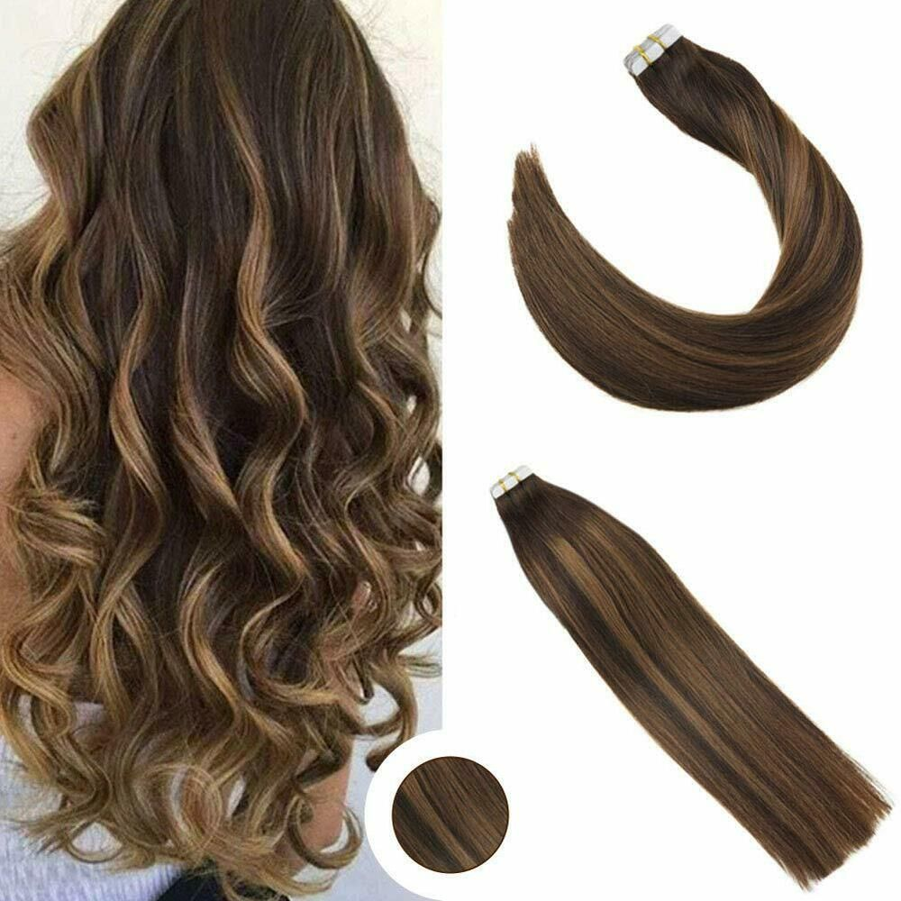 Ugeat 16inch 20pcs Balayage Tape In Hair Extensions Human Hair
