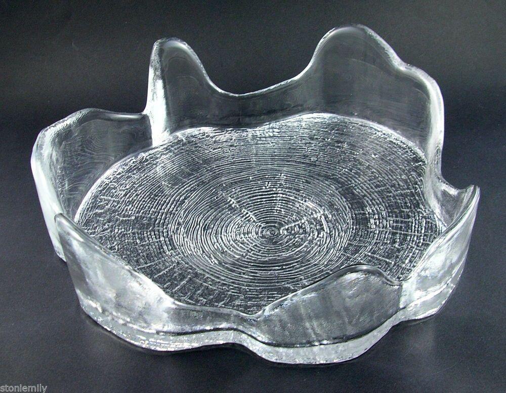 Mid Century 25cm Skruf Art Glass 'Tree Trunk / Stump' bowl Sweden Bendt Edenfalk