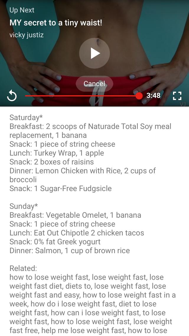 Food chart weight loss