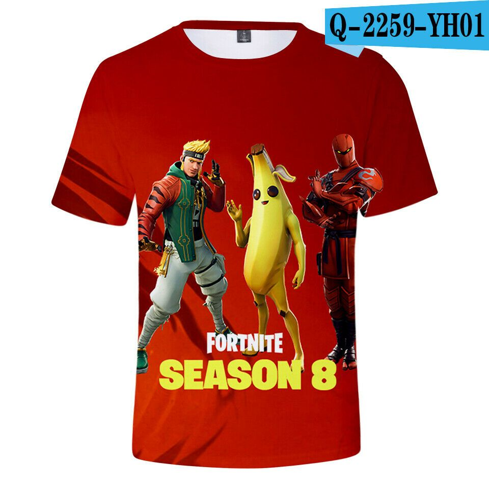 4c51102a NEW STYLE 2019 Game 3D Fortnite Season 8 Battle Royale Kinder Kid Baby T- Shirts