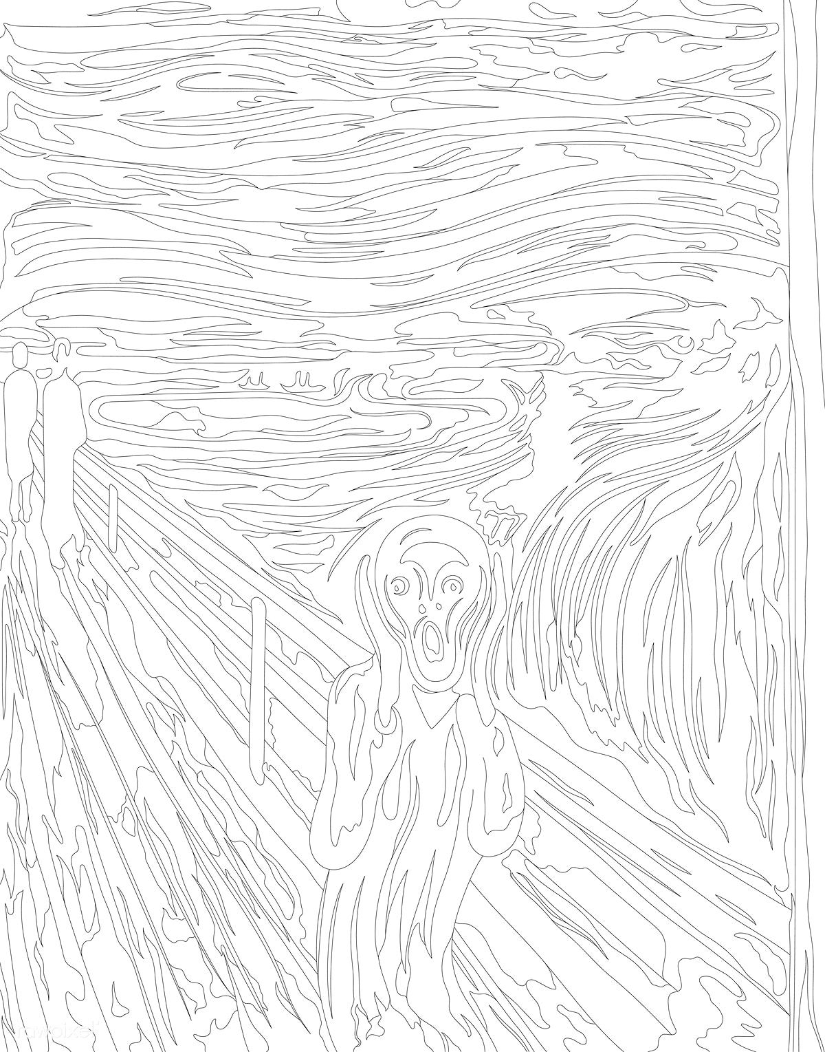 The Scream By Edvard Munch Adult Coloring Page