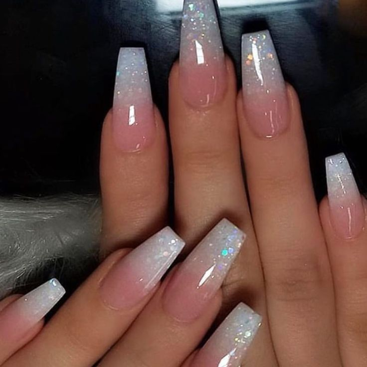 Glitter French Ombré on coffin nails ???? Follow ? @Doing.Makeup... | Cheveux ?
