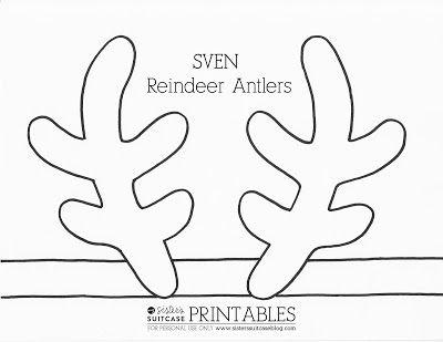 It is an image of Printable Reindeer Antler pertaining to preschool