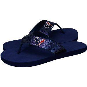 b983c1ac For Bare Feet Houston Texans Women's Sequin Flip Flops   Style ...