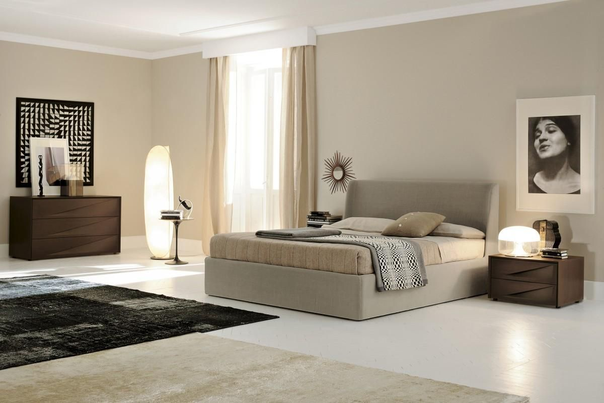 upholstered frame and tile floor for contemporary bedroom