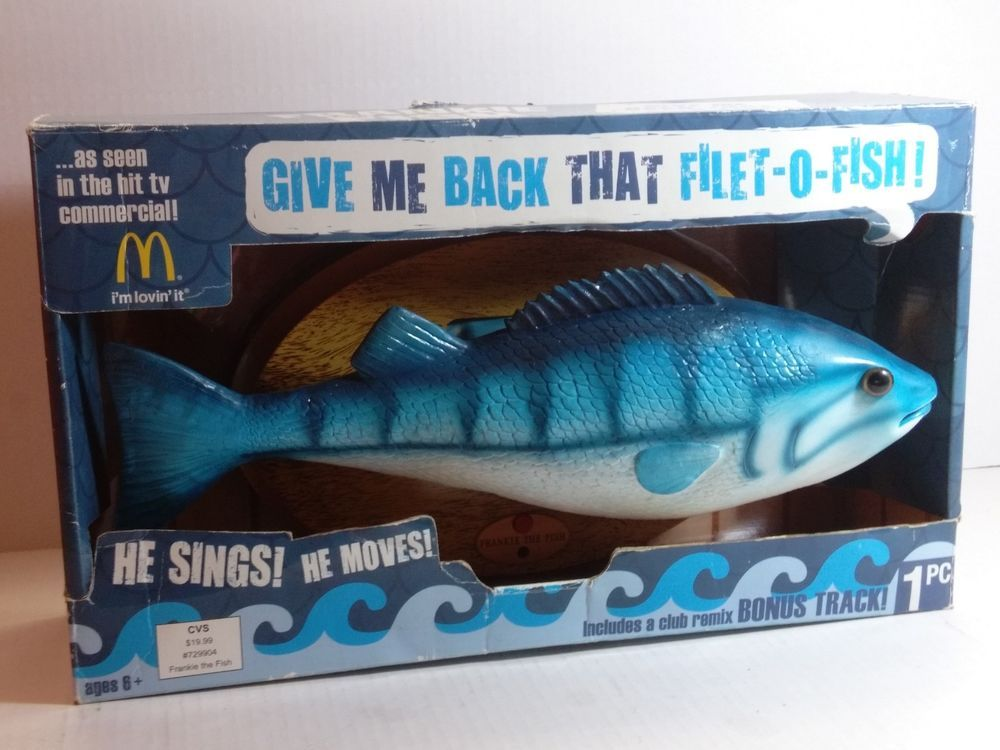 Frankie the Fish wall-mountable singing McDonald's Filet-O-Fish toy In Box