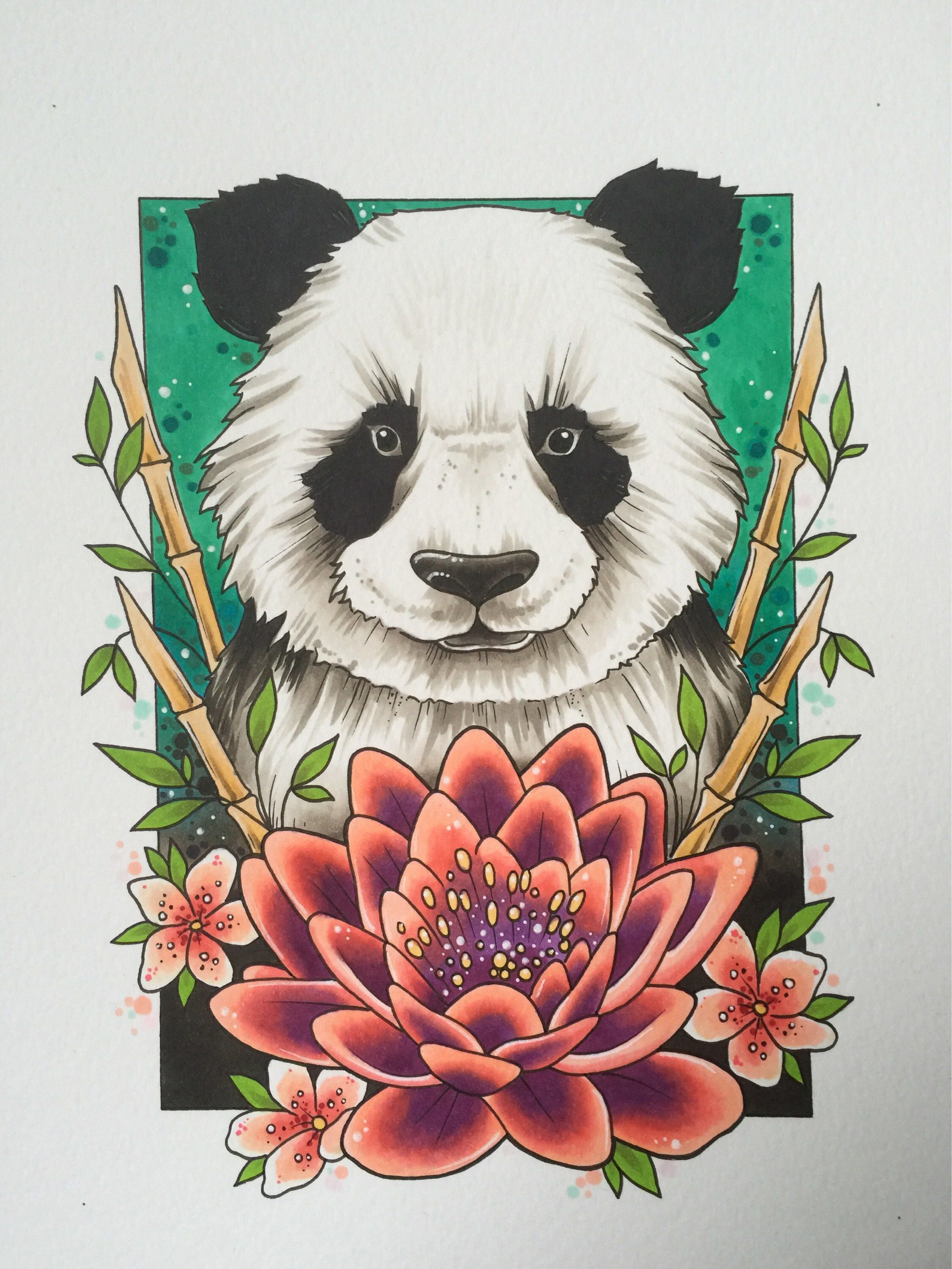 Panda tattoo print, animal art, wildlife art, panda gifts, tattoo design, save the pandas, tattoo gifts, neo traditional, endangered animal
