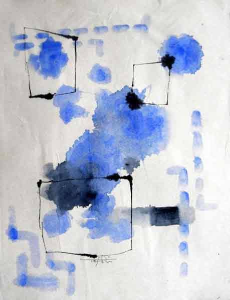 "Toshiko Tanimoto ""Blue notes"" sumi ink drawing; 300×230mm"