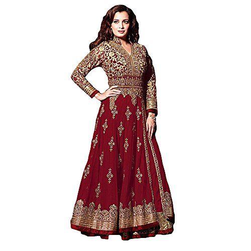 Shree Designer Sarees Women's Red Net Anarkali Suit: Amazon.de: Bekleidung
