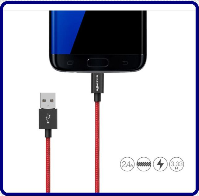 Blitzwolf Bw Mc1 2 4a Micro Usb Braided Charging Data Cable 3 33ft 1m Fast Ship Blitzwolf Data Cable Micro Usb Usb