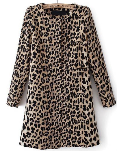 Leopard Long Sleeve Covered Button Pockets Coat by: SheInside