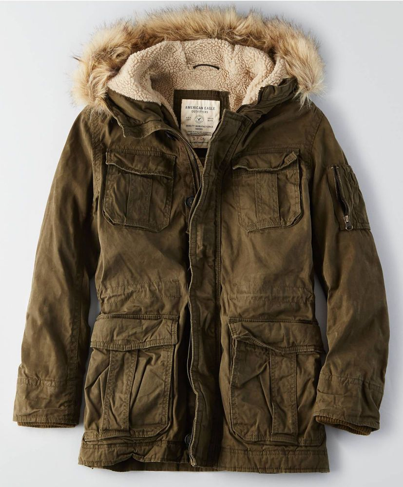 American Eagle Ae Men Utility Military Sherpa Lined Fur Cotton Parka Coat Jacket Mens Outfitters Coats Jackets Parka [ 1000 x 827 Pixel ]