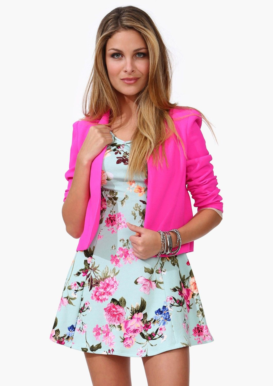 Hot pink blazer robin egg blue flower dress | * Kiss & Make Up Girl ...