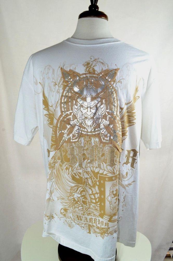 Akcess #Premium #Warrior embellished Men's #Urban Short Sleeve T shirt 2XL #Viking #Akcess #EmbellishedTee