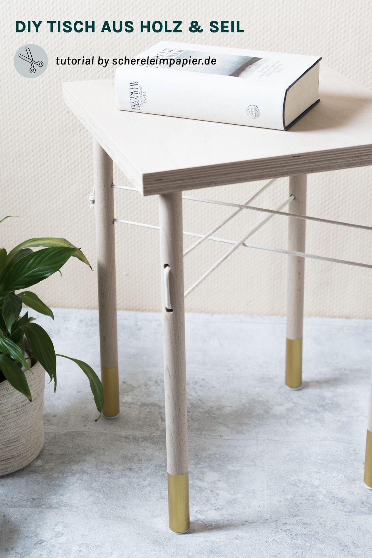 holz trifft seil: wie man einen kleinen diy tisch selber bauen kann