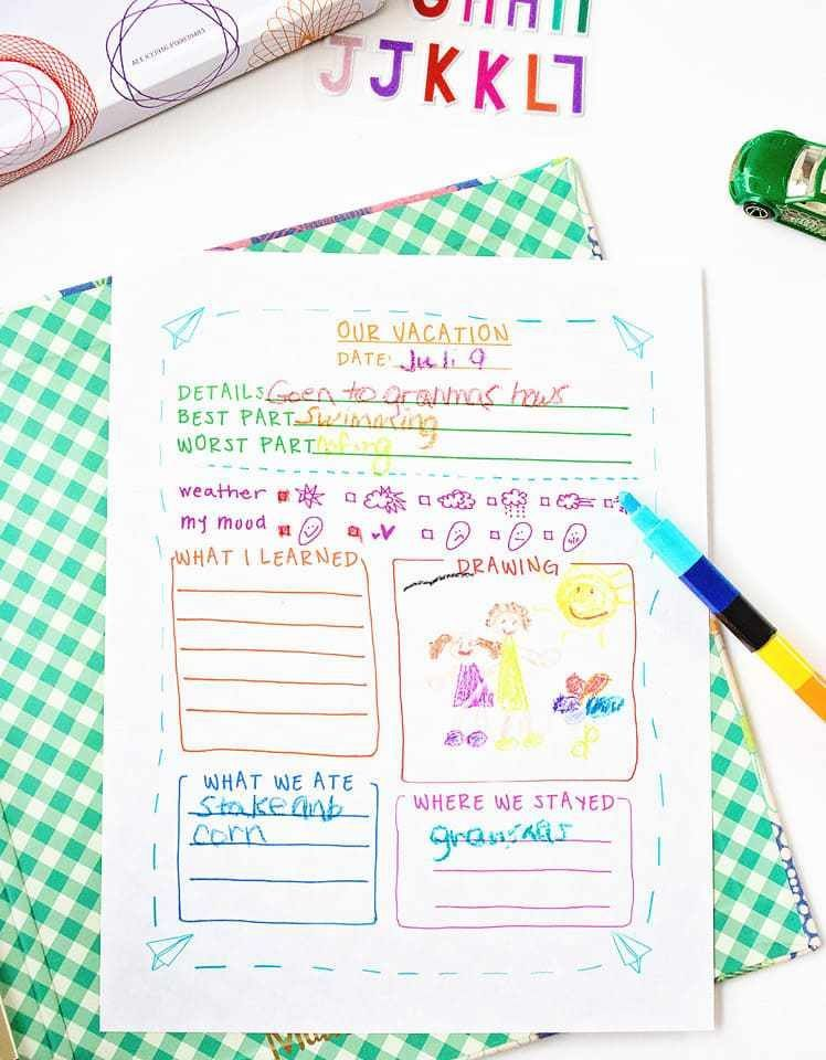brilliant free printable travel journal template for kids great