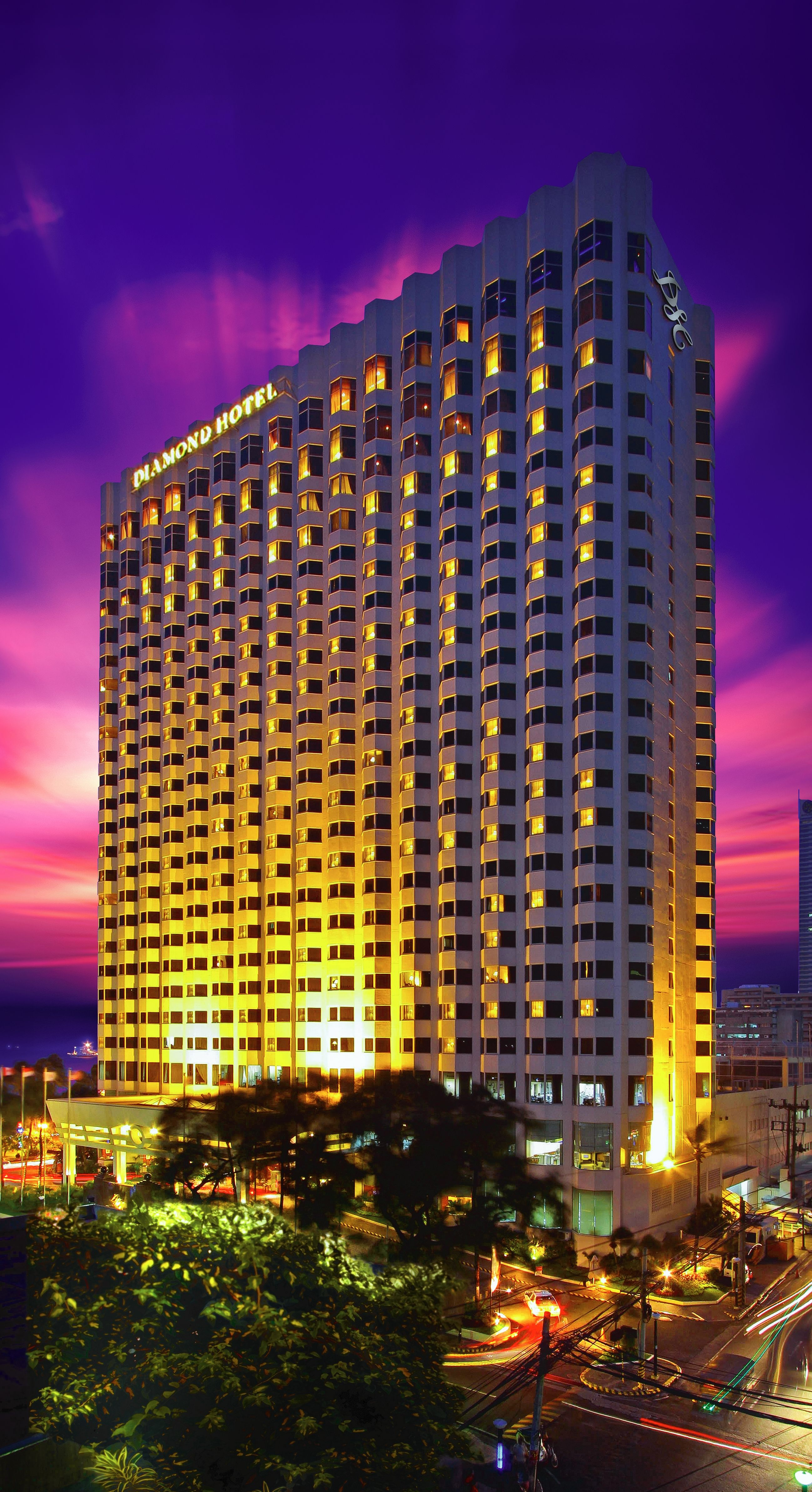 Diamond Hotel Philippines Facade At Dusk Diamond Hotel