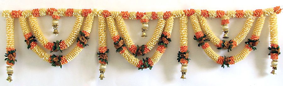 b33a28cffce Satin Flower Door Toran with Brass Bells (Decorative Door Hanging ...
