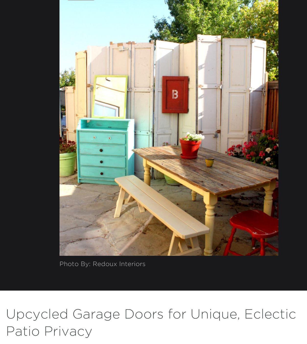 Diy Garage Door Patio Privacy Bohemian Style Pinterest Diy