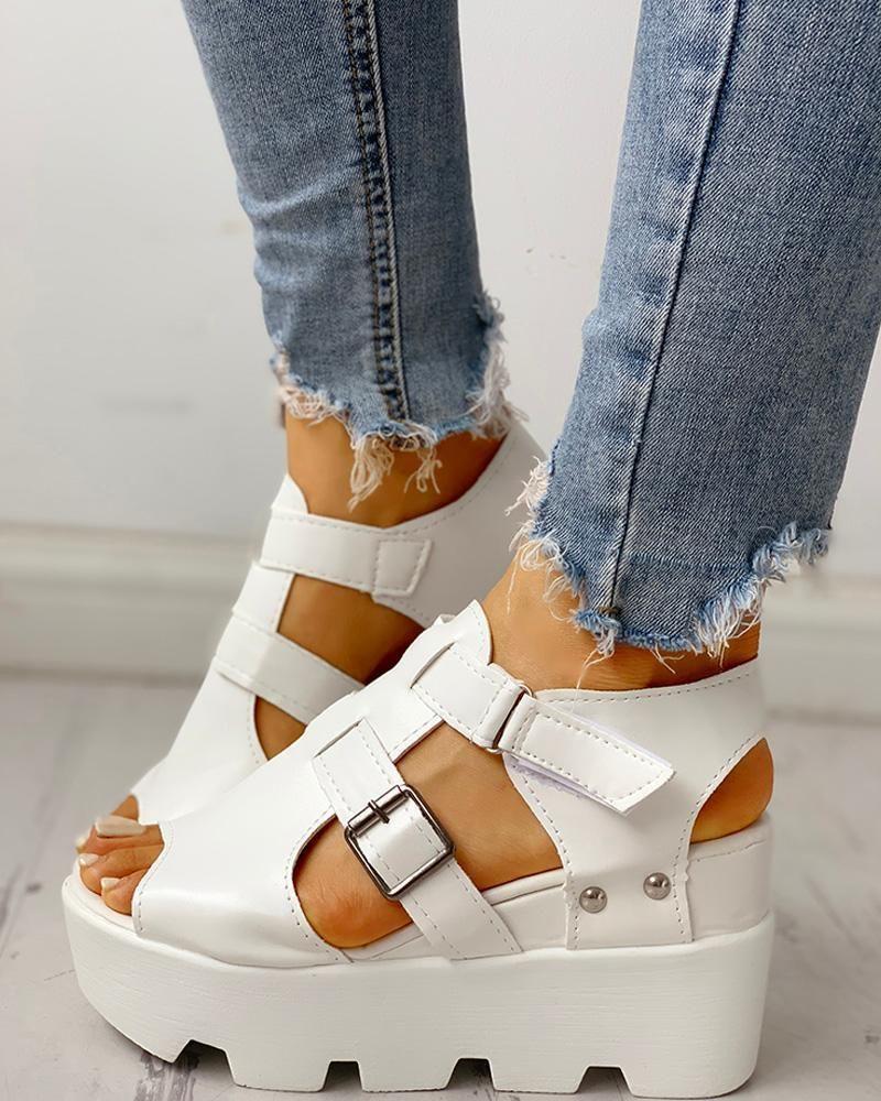 Cutout Velcro Platform Wedge Sandals
