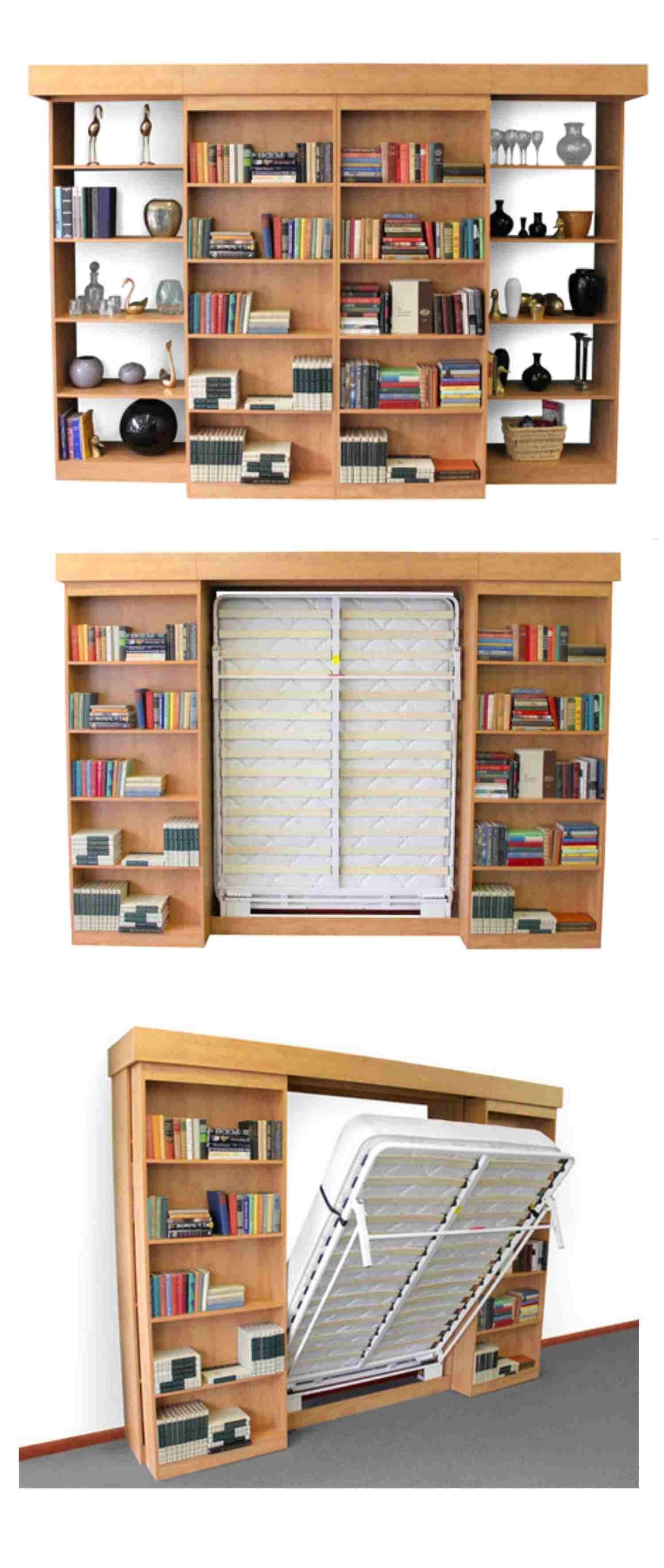 Sliding bookshelves reveal folddown bed excellent home life in