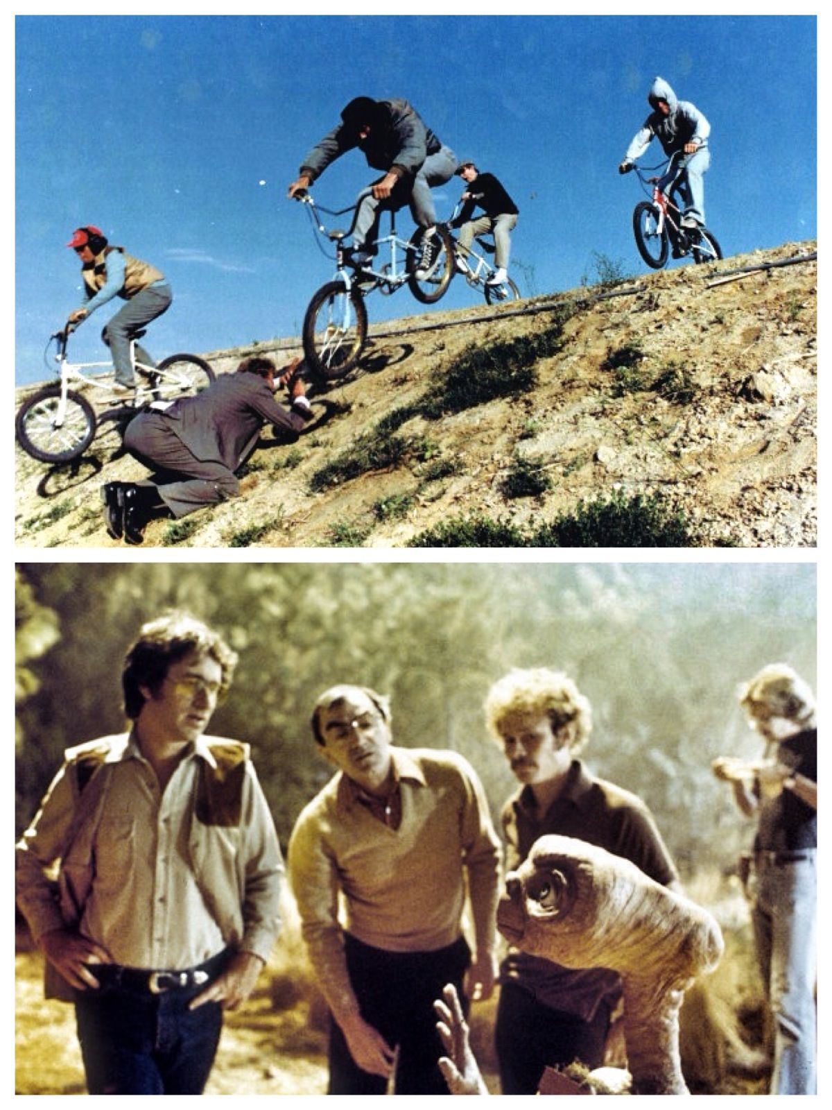 E.T. - 1982 - Top photo: Notice the photographer on his knees, taking photos. More about this photo on narrative.ly  Bottom: Steven Speilberg directing.