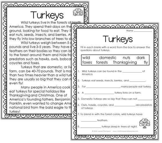 TURKEYS: Nonfiction Mini Unit & Graphic Organizers