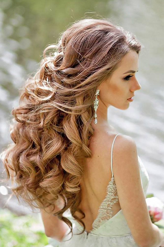 36 Trendy Swept-Back Wedding Hairstyles   Down hairstyles for long hair, Hair styles, Down ...