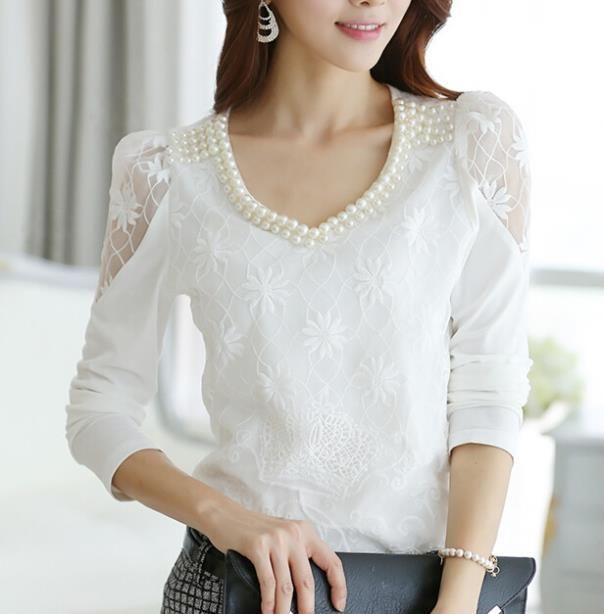 Plus Size Korean Crochet Long Sleeve Beaded V Neck White Lace Shirt Women Tops Elegant Flower Print White Lace Blouse Long Sleeve Fashion Fashion Clothes Women