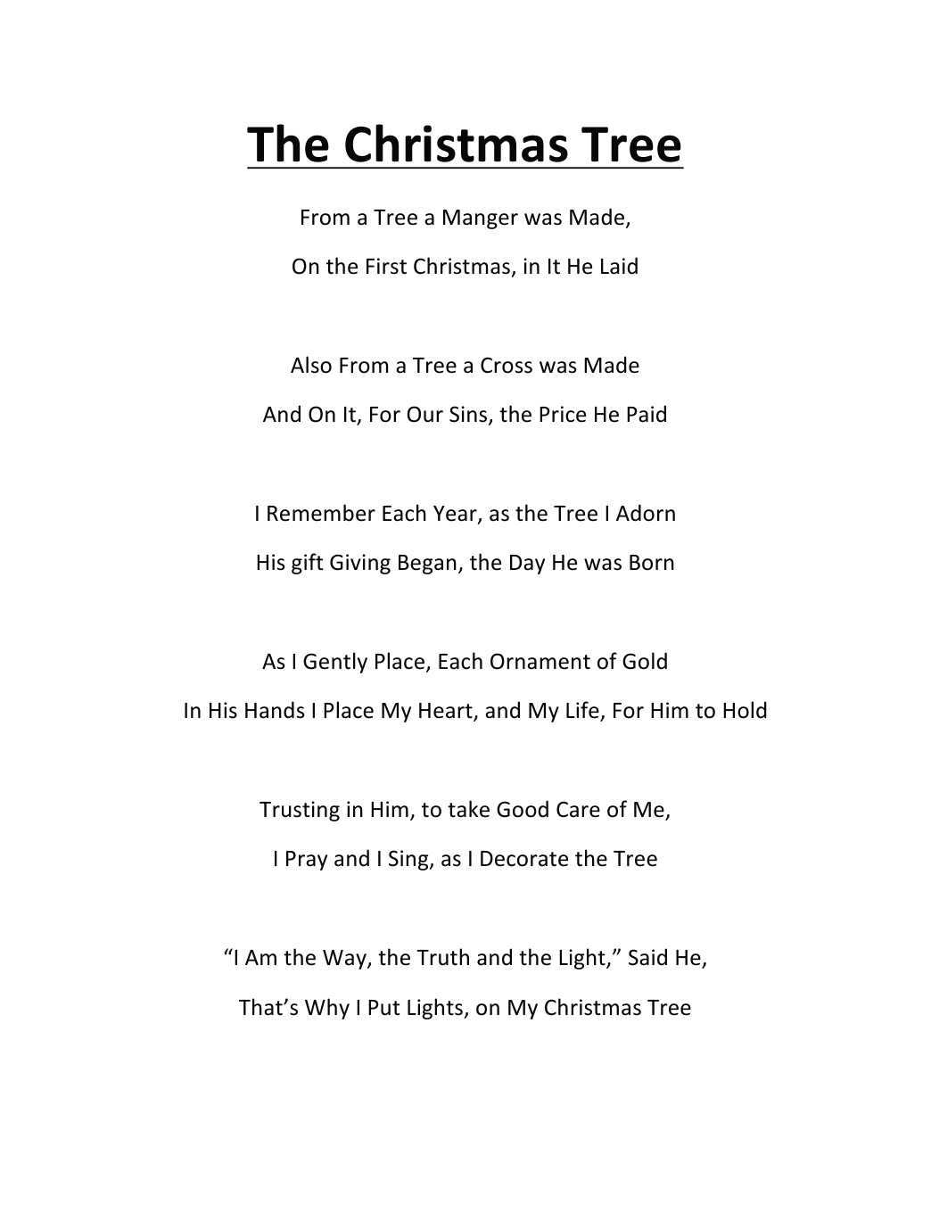 Christmas poems for church programs - The Christmas Tree Poem By K Ross My Good Friend In Christ Jesus