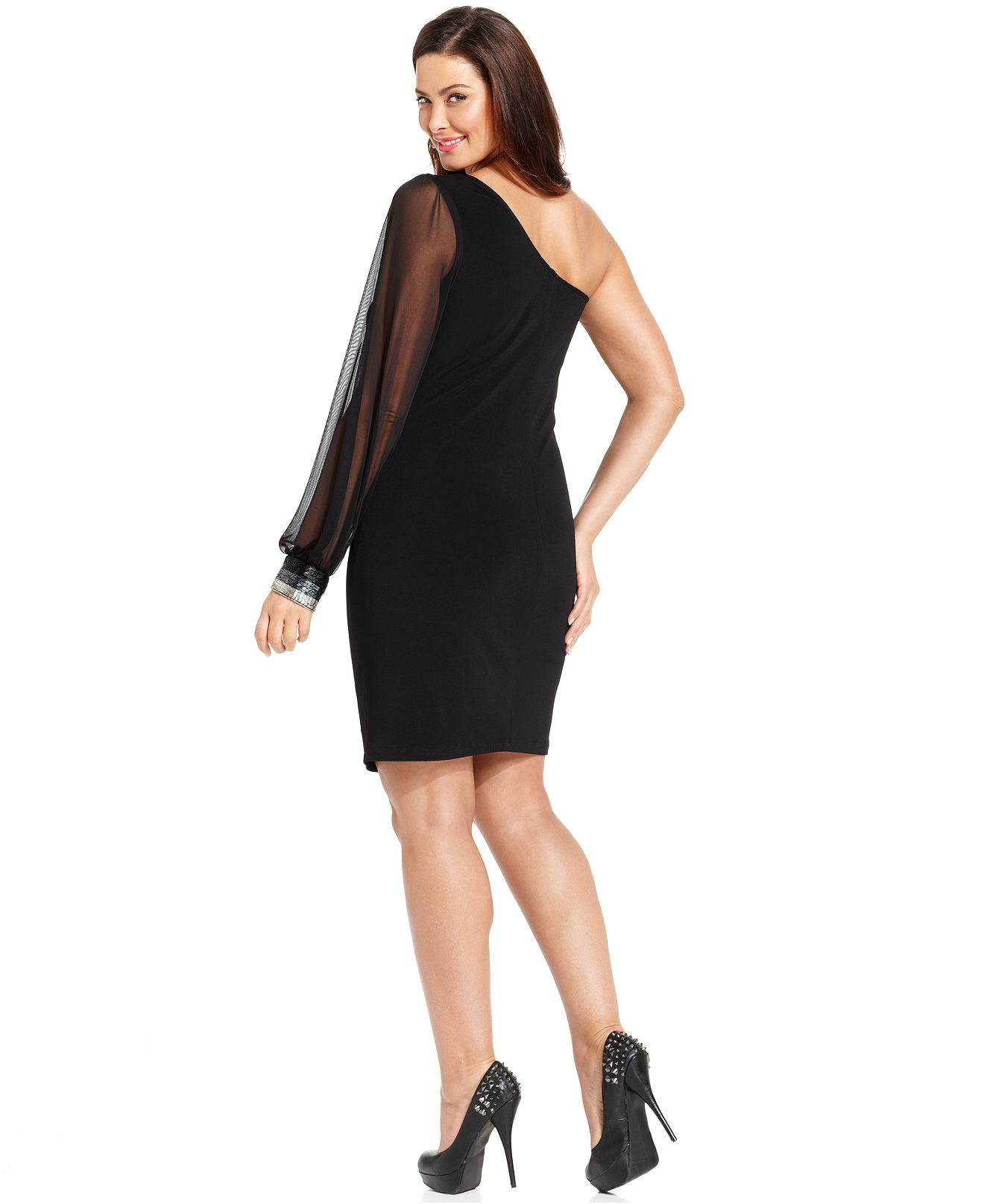 Ruby Rox Plus Size Dress, One-Shoulder Sheer-Sleeve