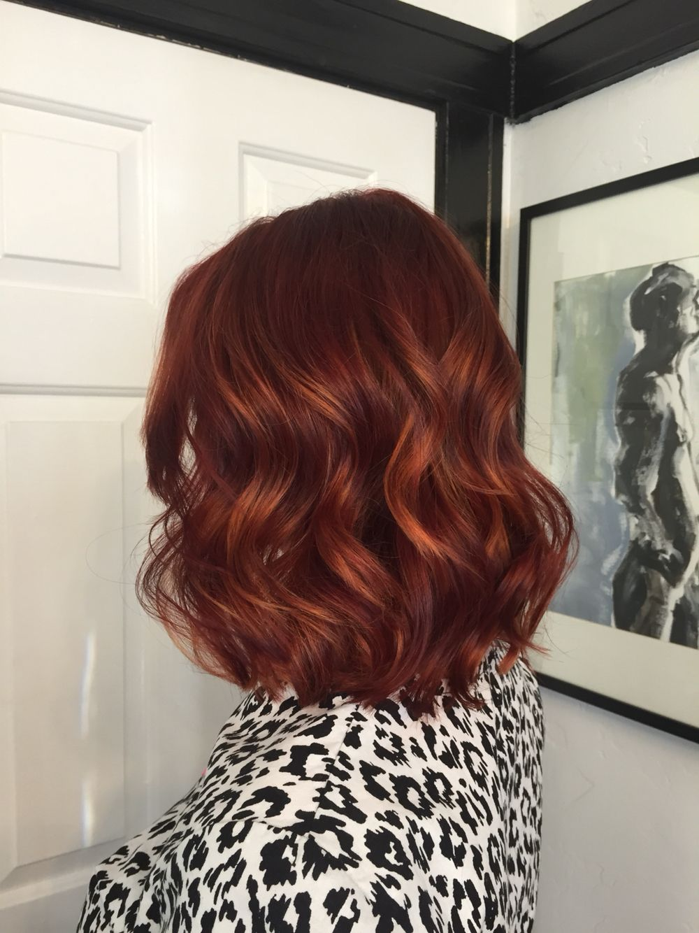 Rich deep red with copper balayage Gigi at Mecca Salon in