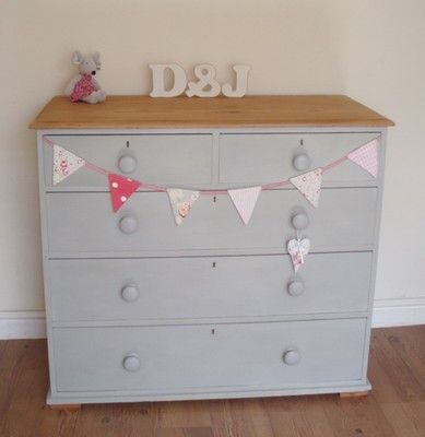 Large Old Painted Pine Chest Of Drawers Shabby Chic