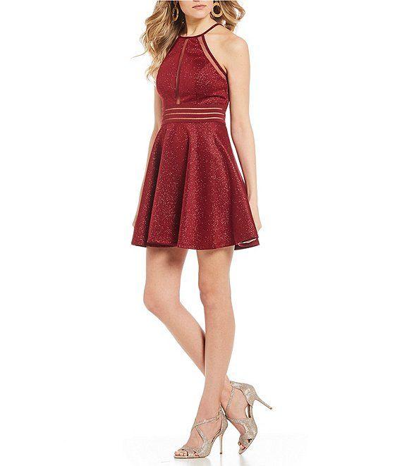 b9054215feb Jodi Kristopher Glitter-Knit Illusion Banded Waist Fit-And-Flare Dress