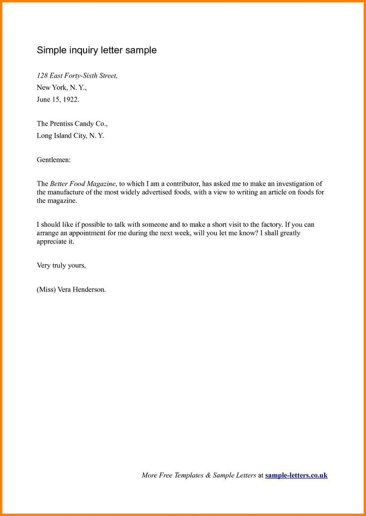 formal business letter format pinterest download free application - inquiry letter sample for business