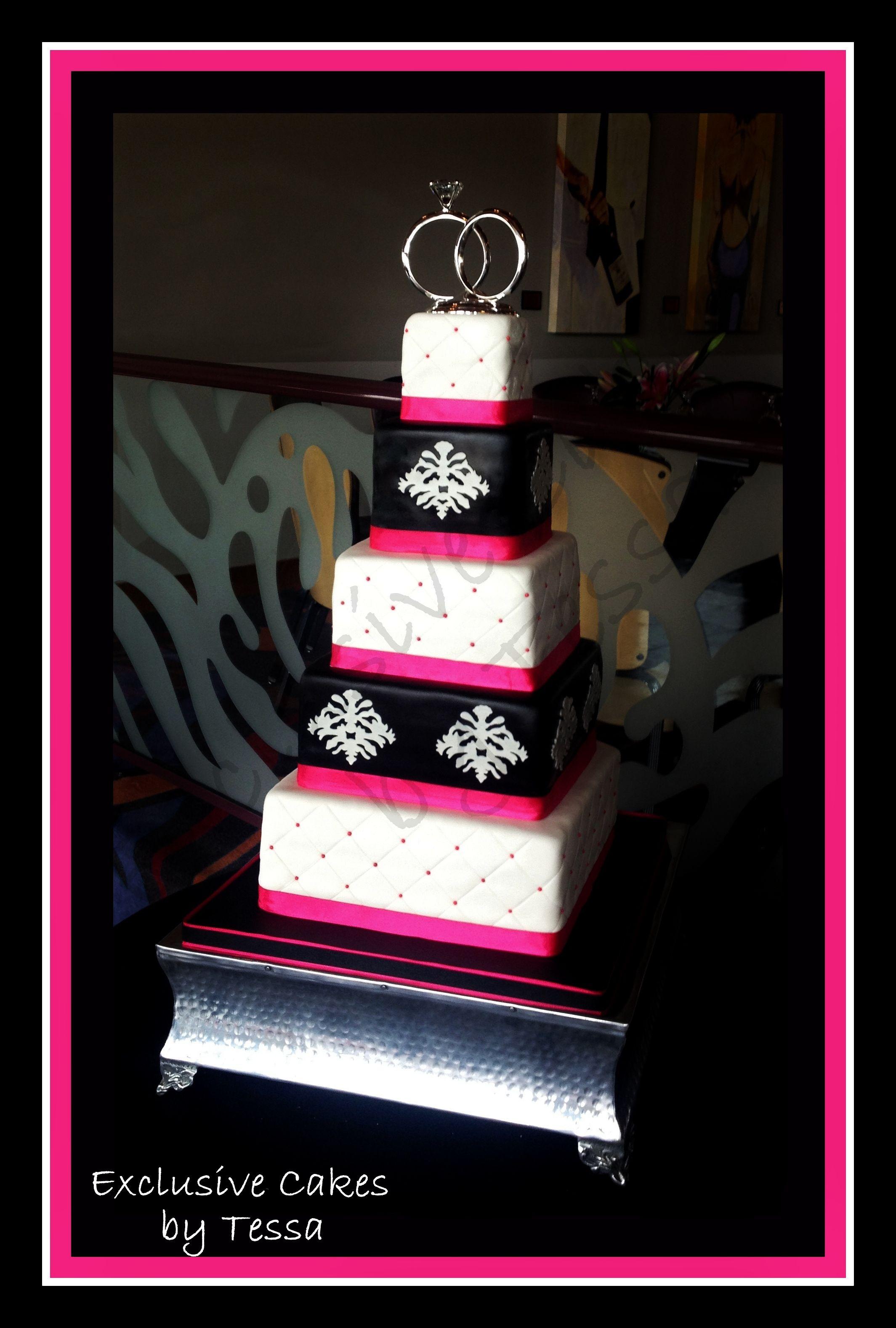 5 tier black and white wedding cakes