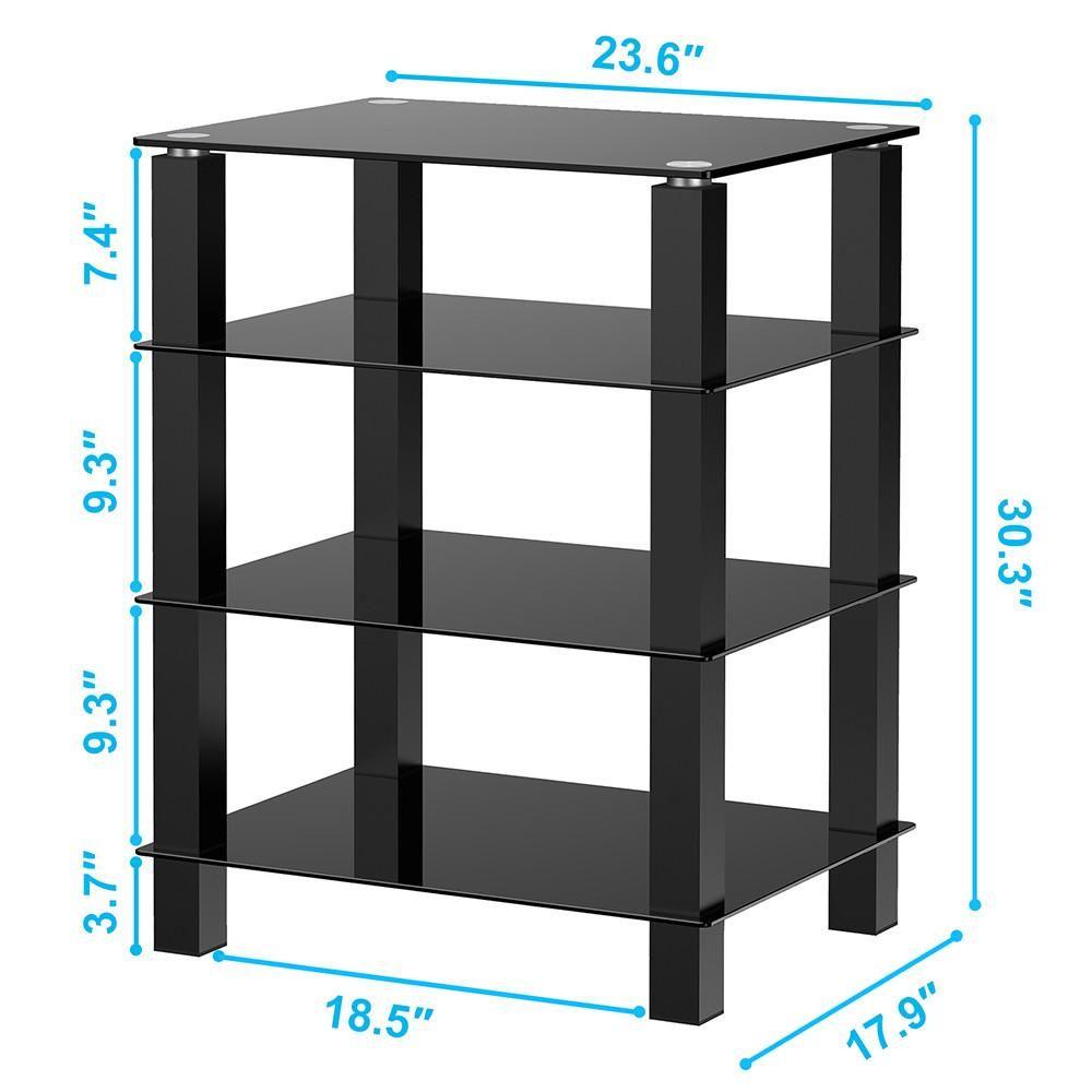 tv media stand multimedia storagetower glass shelves storage for av rh pinterest com Cabinent AV Component Shelves Wall Mounted TV and Components