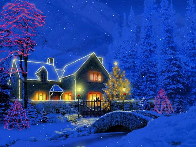 Accumulating snow makes this 3D Christmas Cottage screensaver a