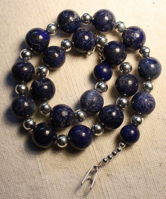 Lapis Lazuli Necklace Lapis Silver Necklace Large by QuietMind