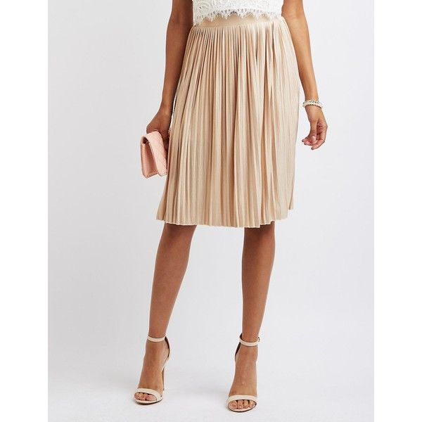fair price luxury aesthetic great prices Charlotte Russe Shimmer Pleated Midi Skirt ($27) via ...