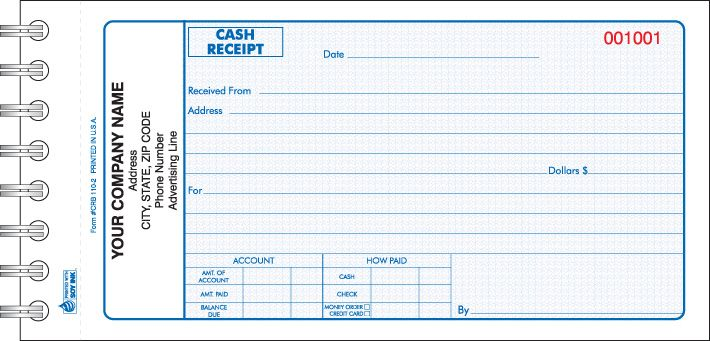 crb 110 wire bound cash receipt book cash receipt forms books