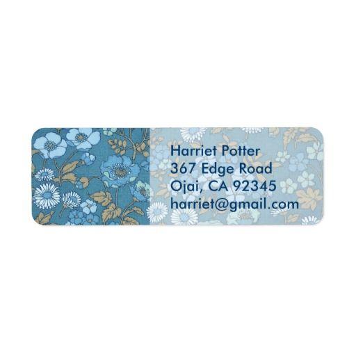 Vintage Blue Floral Wallpaper Label