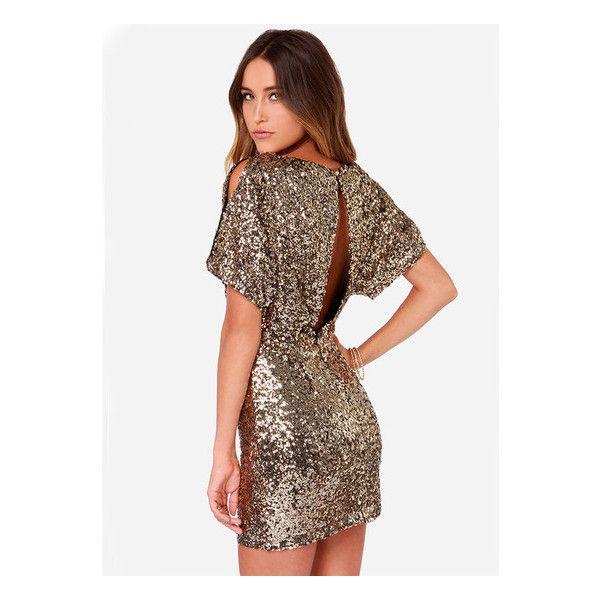 Gold Short Sleeve Split Back Sequined Dress (17.410 CLP) ❤ liked on ...