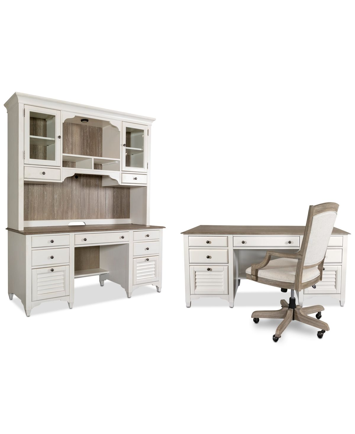 York Two Tone Home Office 4 Pc Furniture Set Two Tone Executive
