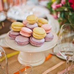 Colorful macarons in a spring palette make an appearance at a beautiful party.