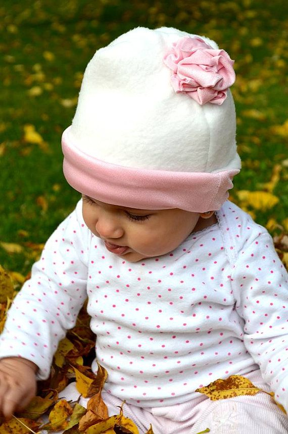 White Fleece Hat with Pink Flower